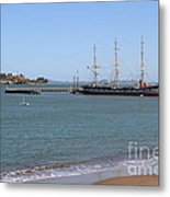 The Balclutha . A 1886 Square Rigged Cargo Ship At The Hyde Street Pier Overlooking Alcatraz.7d14068 Metal Print