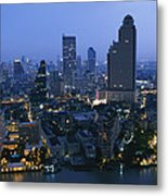 The Bangkok Skyline At Dusk Metal Print