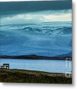 The Bench And The Glacier Metal Print