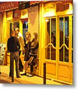 The Bistro At Night Metal Print