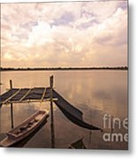 The Blue Sky And A Boat Metal Print