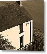 The Boathouse At Laugharne Sepia Metal Print
