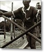 The Boatman Of The Lake Taungthaman - 2 Metal Print