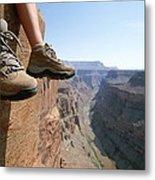 The Boot-shod Feet Of A Hiker Dangle Metal Print