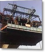 The Bridge Building Platform Being Used In The Construction Of The Delhi Metro Metal Print