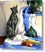 The Cat And The Cloth Metal Print