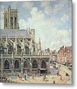 The Church Of Saint Jacques In Dieppe Metal Print by Camille Pissarro