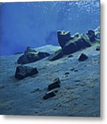 The Clear Water Of The Lagoon At Silfra Metal Print