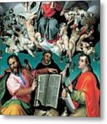 The Coronation Of The Virgin With Saints Luke Dominic And John The Evangelist Metal Print by Bartolomeo Passarotti