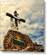 The Cross In The Grotto In Iowa Metal Print