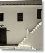 The Door Of The Chappel Bw Metal Print
