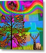 The Earth Rejoices Series Deer And Basswood Metal Print by Robin Jensen