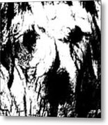 The Face In The Tree High Contrast Metal Print