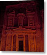 The Famous Treasury Lit Up At Night Metal Print