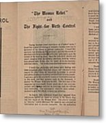 The Fight For Birth Control, A Pamphlet Metal Print by Everett