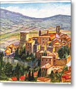 The Fortified Walled Village Of Gualdo Cattaneo Umbria Italy Metal Print