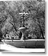 The Fountain And The Ride In Black And White Metal Print