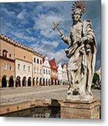 The Fountain And The Typical Houses Metal Print