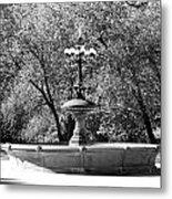 The Fountain In Black And White Metal Print