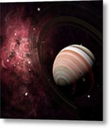 The Gas Giant Carter Orbited By Its Two Metal Print