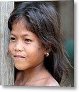 The Girl In The Plastic Earrings  Metal Print