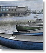 The Green Canoe Metal Print by Debra and Dave Vanderlaan