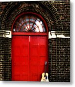 The Guitar And The Red Door Metal Print