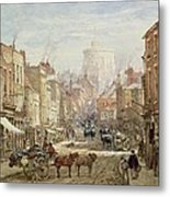 The Household Cavalry In Peascod Street Windsor Metal Print by Louise J Rayner