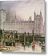 The Houses Of Parliament In Course Of Erection Metal Print