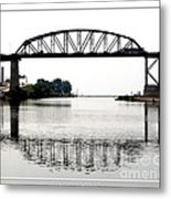 The International Peace Bridge Between The United States  And Canada Metal Print