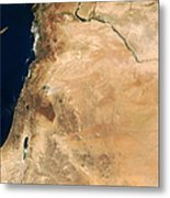 The Lands Of Israel Along The Eastern Metal Print by Stocktrek Images