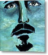 Blue Man In The Sky Surreal Portrait Unique Contemporary Figurative Fine Art Surrealism Decor Print Metal Print