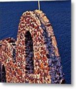 The Last Wall Standing Santorini Greece Metal Print