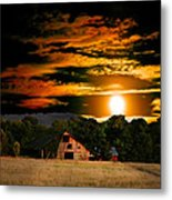 The Late Sam's Rd. Barn In The Moonlight Metal Print