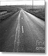 The Long Road Home . 7d9903 . Black And White Metal Print