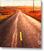 The Long Road Home . Painterly Style . Wide Size Metal Print