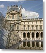 The Louvre Twice Reflected Metal Print