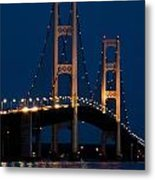 The Mackinaw Bridge At Night By The Straits Of Mackinac Metal Print