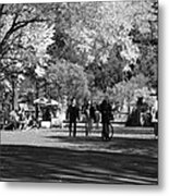 The Mall At Central Park In Black And White Metal Print