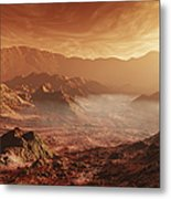 The Martian Sun Sets Over The High Metal Print