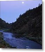 The Moon Appears Over The Rogue River Metal Print