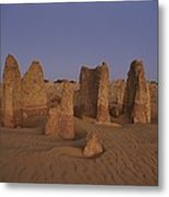The Moon Rises Over Limestone Pinnacles Metal Print