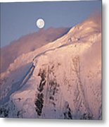 The Moon Rises Over Snow-blown Peaks Metal Print