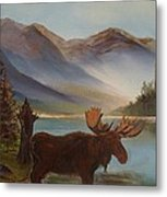 The Mountain Moose Metal Print