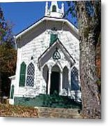 The Old Country Church On The Hill Metal Print