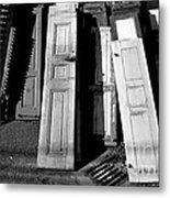 The Old Doors Bw Metal Print