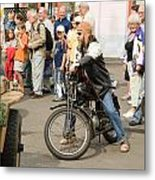 The Old Motorcycle And Man Metal Print by Odon Czintos