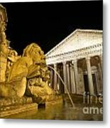 The Pantheon At Night. Piazza Della Rotonda.rome Metal Print