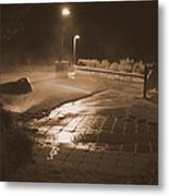 The Park At Night Metal Print by Artist Orange