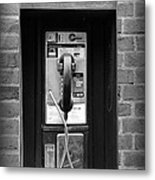 The Payphone - Black And White Metal Print